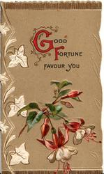 GOOD FORTUNE (G & Filluminated) FAVOUR YOU above red & white fuchsia stylised white ivy left, light brown background