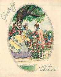 GREETINGS TO MY VALENTINE! ovular inset, couple on terrace in garden setting, hollyhocks & tree in background