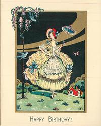 HAPPY BIRTHDAY! inset nightscene of woman standing on grassy knoll, holding up parasol
