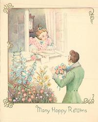 MANY HAPPY RETURNS man, right, holds bouquet of pink roses, woman looks at him through open window holding letter