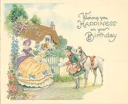 WISHING YOU HAPPINESS ON YOUR BIRTHDAY woman in yellow dress receives letter from delivery man with horse, cottage behind left