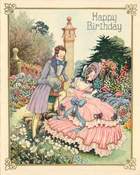 HAPPY BIRTHDAY woman in pink dress sits in garden setting, looking over her right shoulder, gentleman stands to her left