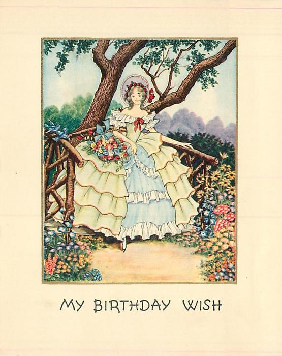 MY BIRTHDAY WISH woman in light green ruffled dress stands in front of wooden railing under tree, she carries basket of flowers