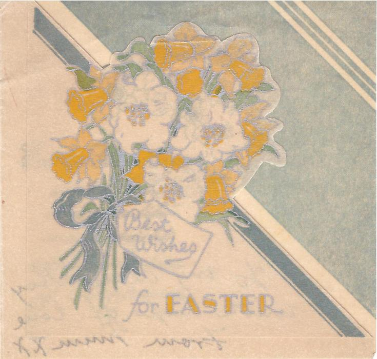 BEST WISHES FOR EASTER bouquet of daffodils, die-cut, silvered