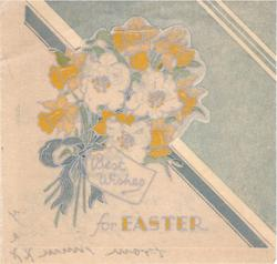 BEST WISHES FOR EASTER bouquet of daffodils with top half of image die-cut, teal background