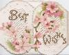 BEST WISHES  in gilt,across both perforated flaps, pink cherry blossom above & below