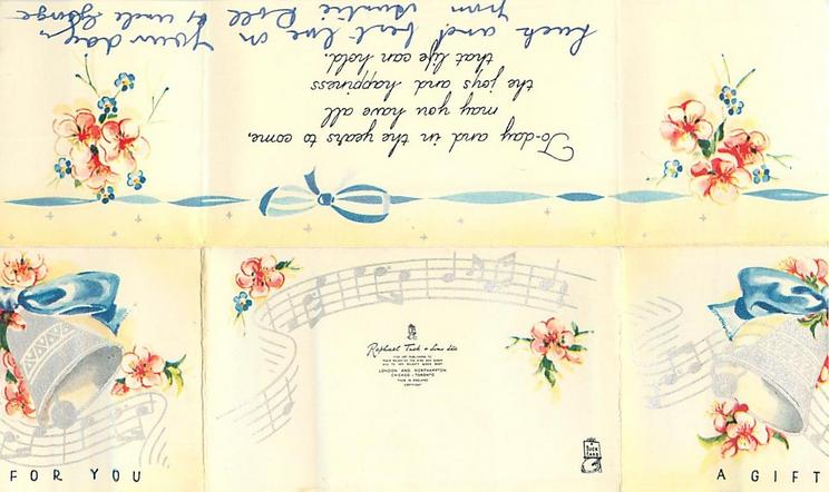 A GIFT FOR YOU two silvered bells with blue ribbon over music notation, pink flowers