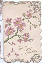 GLAD DAY OF MEMORIES below spray of purple stylised flowers, perforated marginal gilt & white design