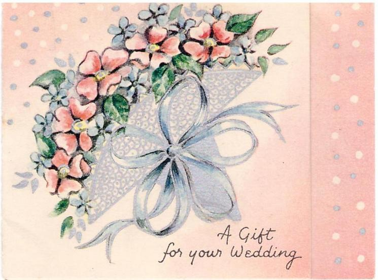 A GIFT FOR YOUR WEDDING bouquet of pink and blue flowers with blue ribbon, silver dots