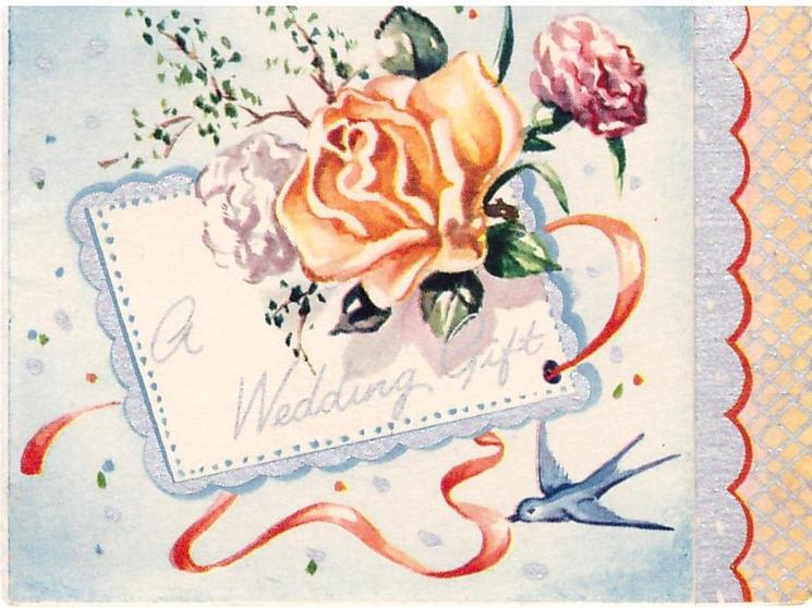 A WEDDING GIFT orange rose and carnations, swallow lower right