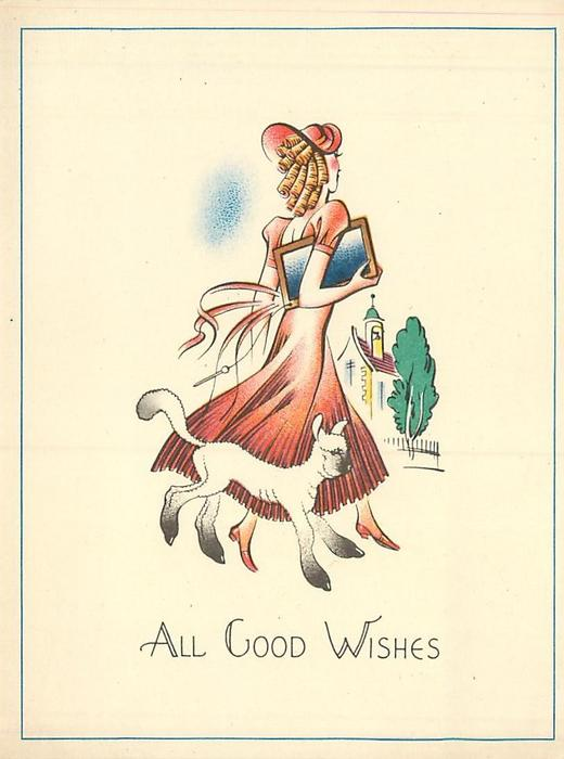 ALL GOOD WISHES Mary walks right, facing away, with her little lamb