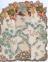 BEST WISHES in gilt in 2 forget-me-not bordered insets across both flaps, marginal gilt design with bown ivy at top