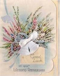 GOOD LUCK ON YOUR WEDDING ANNIVERSARY white & pink heather, silver bells & ribbon applique