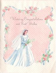 WEDDING CONGRATULATIONS AND BEST WISHES blue ribbon, roses & two angels frame bride with veil applique, pink striped background