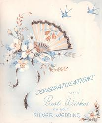 CONGRATULATIONS AND BEST WISHES ON YOUR SILVER WEDDING  peach fan with bell design, with mixed bouquet, blue birds upper right