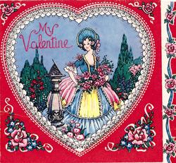 MY VALENTINE woman wearing blue bonnet holds pink roses in garden, sundial to her left, framed by elaborate heart & red background