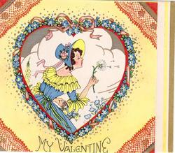 MY VALENTINE woman in blue dress with yellow collar, faces right, blowing dandelion seeds, heart frame with blue flowers