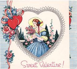 SWEET VALENTINE! woman wearing yellow bonnet smells roses, striped blue & white edges with two red hearts, pink ribbon & pink roses