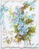 BEST WISHES in gilt below left, ivy leaves, ferns & forget-me-nots above, blue ribbon & bow design