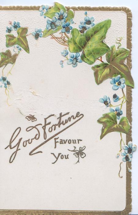 GOOD FORTUNE FAVOUR YOU in gilt below ivy leaves & forget-me-nots, gilt marginal stripe