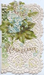 REMEMBRANCE in gilt across heavily perforated design, ivy leaves & forget-me-nots upper left