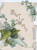 BEST WISHES in gilt diagonally, ivy leaves & forget-me-nots below, white background, design on white background