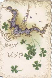 BEST WISHES in gilt below gilt cobwebb embossed design with forget-me-nots in purple inset, shamrocks below