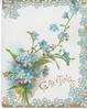 GREETINGS in gilt below bouquet of forget-me-nots, marginal blue & gilt floral design