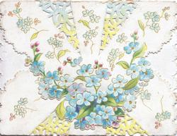 no front title, forget-me-nots on perforated upper flap coming down to immitate an envelope