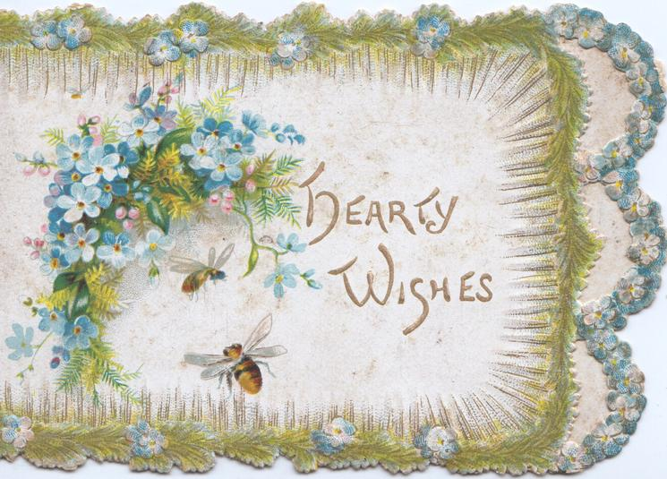 HEARTY WISHES in gilt, forget-me-nots & fern upper left and as marginal designs, 2 bees, perforations right