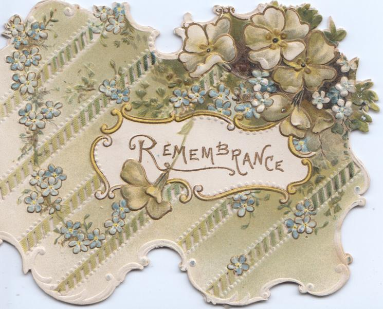 REMEMBRANCE in gilt in white inset, forget-me-nots & blossom on perforated front