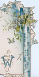 BEST WISHES(W-blue illuminated) in gilt below forget-me-nots above right, stylised floral design upper right