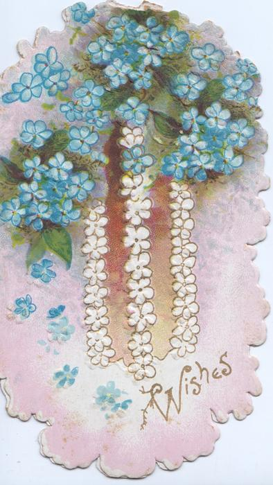 WISHES in gilt below forget-me-nots, pink background, stylised floral flowers over bown panel