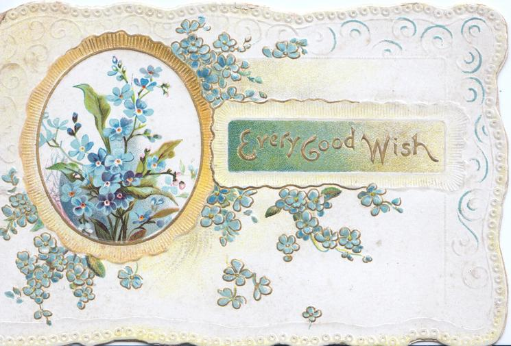 GRACE BE WITH YOU(in green, G illuminated), marginal perforated forget-me-not designs, bells lower right