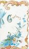 GREETINGS (illuminated G) in gilt above forget-me-nots & white & yellow daisies, blue bow, stylised orange marginal design