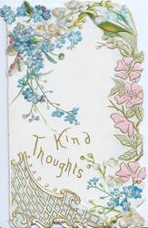 KIND THOUGHTS in gilt below forget-me-nots, stylised floral design right, lattice design lower left