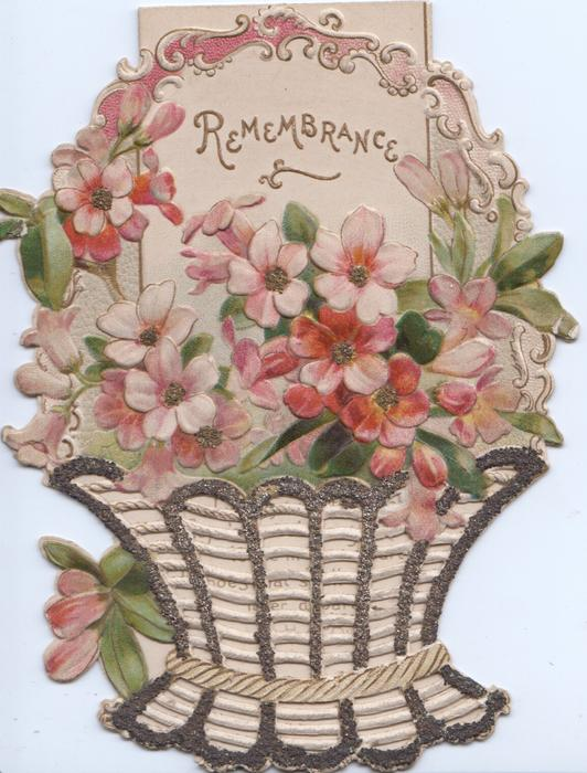 REMEMBRANCE in gilt on white inset at top of glittered basket of pink azaleas