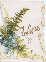 WISHES (W illuminated) in gilt on white background, forget-me-nots & fern, yellow marginal design