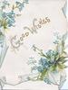 GOOD WISHES (G & W illuminated) in gilt on white background, forget-me-nots, blue marginal design