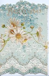 BEST WISHES in gilt above forget-me-nots & white daisies with yellow centres , pale blue background, perforated white stylised design & flowers