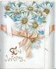 GOOD WISHES in gilt below pink bow,  forget-me-nots & white daisies, more  flowers & ribbon on right flap