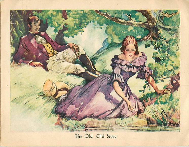 THE OLD OLD STORY couple in old style dress rest in meadow surrounded by trees