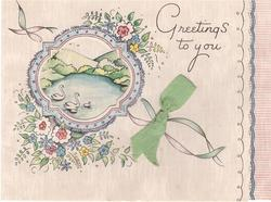 GREETINGS TO YOU perforated window reveals rural scene with swans, floral bunches, green ribbon applique