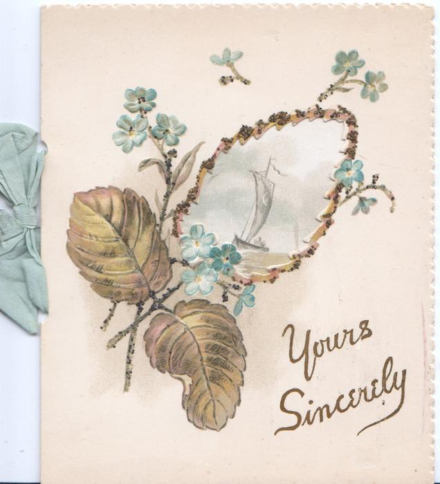 YOURS SINCERELY forget-me nots & glittered blackberry leaves, large perforation to show sea-scape on inner sheet
