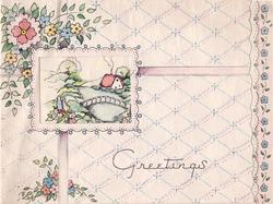 GREETINGS oblong perforation reveals rural scene, floral bunches, pattern of light blue diamonds & pink dots in background