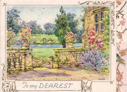 TO MY DEAREST terrace view of vast kempt lawns & garden, blossom tree & swallows on panel right