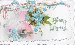 HEARTY WISHES in blue, blue forget-me-nots above & below pink rural winter inset, pink & blue ribbon design at top