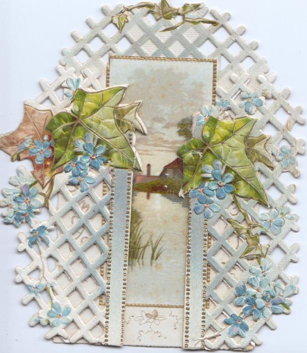 no front title, forget-me-nots & ivy across perforated lattice on both flaps, inset of water mill back central with CHRISTMAS GREETINGS vertically
