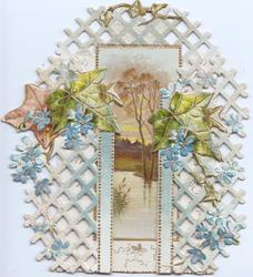 no front title, forget-me-nots & ivy across perforated  celattice on both flaps, inset of river & trees back central with CHRISTMAS GREETINGS vertically