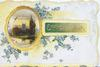 EVERY GOOD WISH in gilt on green inset, forget-me-nots around oval design round watery rural inset